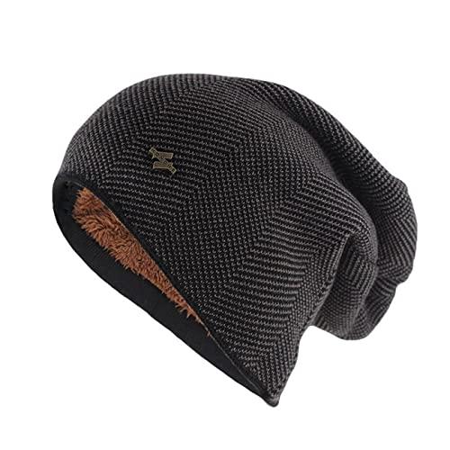 Uniqueheart Sombreros de Punto elásticos para Hombres y Mujeres más Orejeras de Terciopelo a Prueba de Viento Gorros de Lana cálidos Gorros de Jersey neutros - Marrón