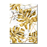 Golden Black Leaf Plants Canvas Painting Marble Nordic Carteles e Impresiones Wall Art Pictures for Living Room Modern Home Decor (Sin Marco)