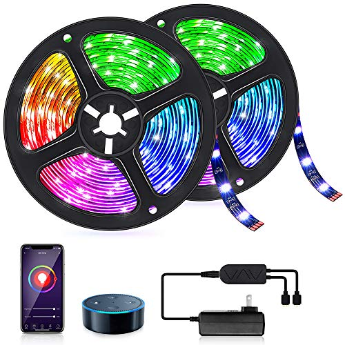 Smart WiFi LED Strip Light 32.8ft Work with Alexa Google Home, Voice APP Control TV Backlights Music Sync 16 Million Colors RGB Light Strip Gaming Tape Rope Light for Bedroom Party Christmas