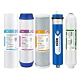 Reverse Osmosis Filter Replacement, Membrane Solutions 75 GPD Complete Replacement Filter Set For Under Sink 5-Stage Reverse Osmosis Replacement Water Filter System