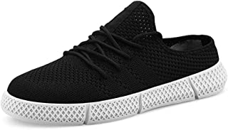 XUJW-Shoes, Mens Soft Walking Fashion Sneakers for Men Casual Walking Shoes Lace Up Breathable Knit Mesh Fabric Low Top Lightweight Durable Comfortable (Color : Black, Size : 7.5 UK)