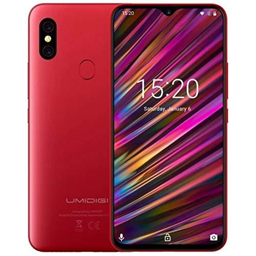 "UMIDIGI F1 Smartphone Libres Android 9.0 Teléfono Inteligente Dual SIM 6.3"" FHD + 128GB ROM 4GB RAM Helio P60 5150mAh Batería 18W Carga rápida Teléfono móvil con NFC 16MP + 8MP Cámara (Rojo)"
