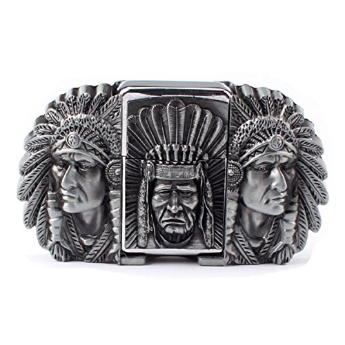 Vintage Indian Warrior Chief and Lighter Belt Buckle Cowboy Native American (IW-02-S)