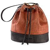 Bucket Bag for Women Non-Leather Vegan Handbag Crossbody Shoulder Woman Cork Red