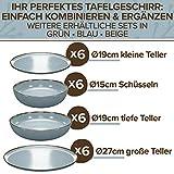 Essgeschirr 6 Personen Set - Trendy Rustikales Design in Blau - Porzellan Schüssel- und Teller Set Modern 24-teilig - Spülmaschinenfestes Tafelservice Set - Geschirrset Vintage von Pure Living - 4