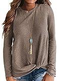 Neineiwu Womens Loose Blouse Long Sleeve T Shirts Twist Knot Casual Tops (X-Large, Beige)