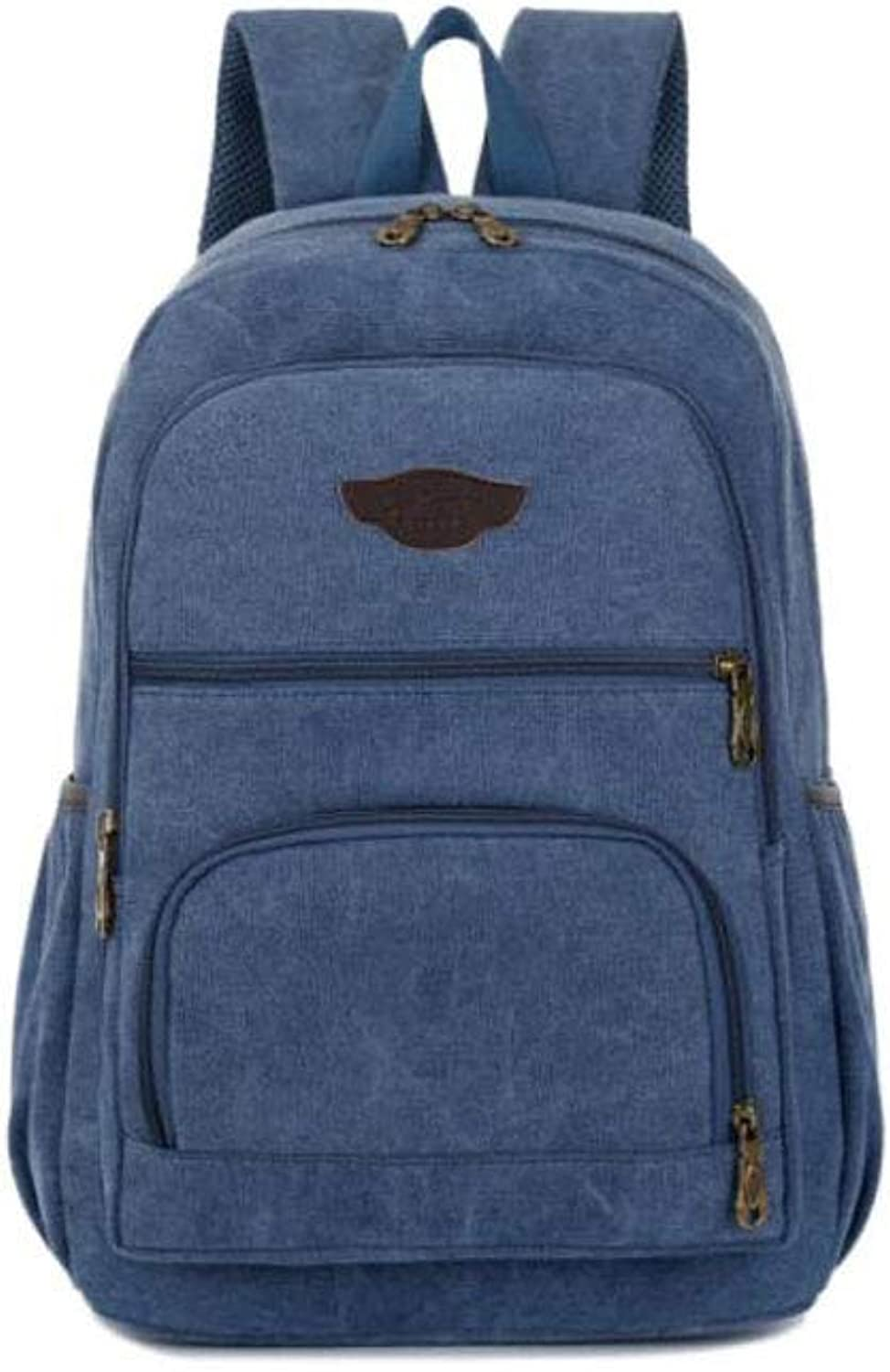 HENG LargeCapacity Sports and Leisure Canvas Backpack, Brown for Hiking, Traveling & Camping (color   blueee)