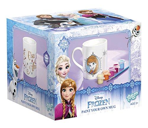 Frozen Die Eiskönigin Keramik Tasse zum Anmalen – Malset mit Pinsel und Töpfchen mit den Farben gelb, orange, lila, pink, blau - TM Essentials 680050