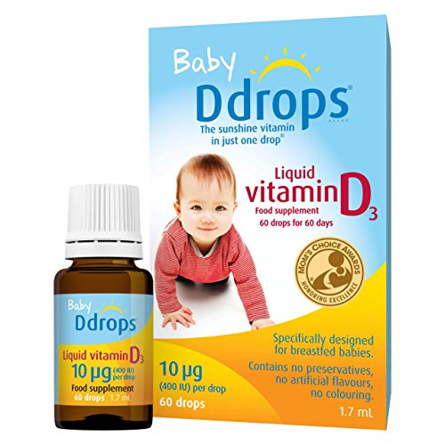 Baby Ddrops 10 µg 60 Drops - Daily Vitamin D3 Drops Supplement for Infants