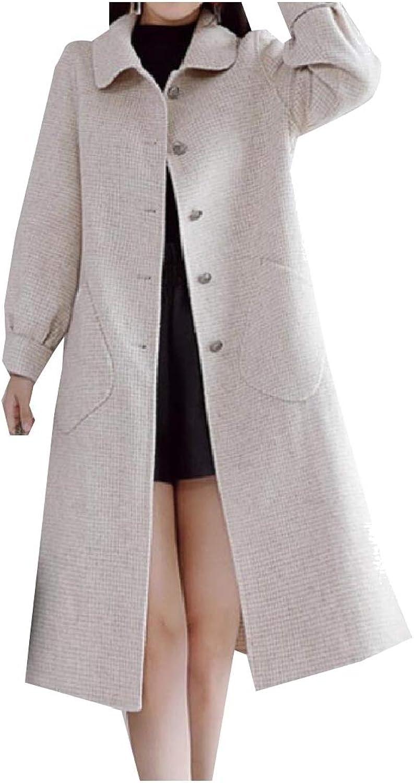 Vska Women Classics Lapel Houndstooth WoolBlend Elegant Overcoat Outwear