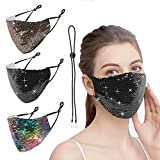 VWMYQ Sequin Glitter Sparkly Face Mask Bling Women Black Gold Designer Fashion Cute Mascarillas Shiny Tapabocas Cubre Bocas Adult Reusable Pretty Breathable Breathable Washable Madks Nose Mouth