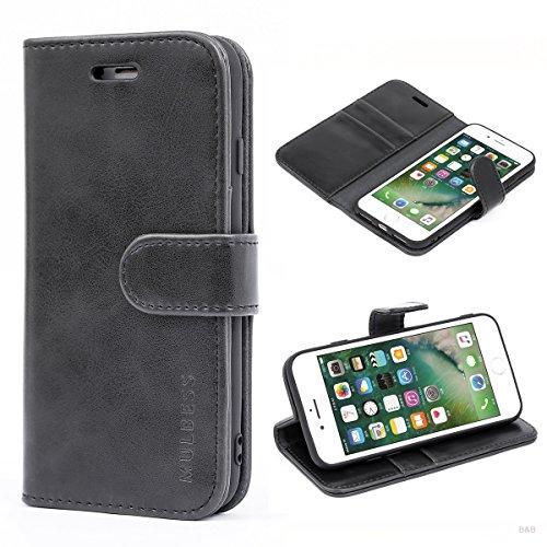 Mulbess Handyhülle für iPhone SE 2020 Hülle Leder, iPhone 8 Handy Hüllen, Vintage Flip Handytasche Schutzhülle für iPhone 8/7 / SE 2020 (4.7 inch) Case, Schwarz