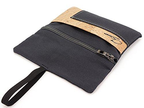 SIMARU Tabaktasche/Tabakbeutel aus Stoff & Kork, Drehtabak Tasche mit Feuerzeug-, Filter- und Blättchen-Tasche, Drehertasche für Herren und Damen (anthrazit/Natur)
