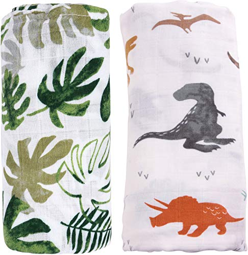 Bamboo Muslin Swaddle Blankets for Boys - 2 Pack Dinosaur & Tropical Bamboo Cotton Baby Boy Blanket Toddler Blanket - Large Summer Baby Muslin Blanket Swaddle Wrap(Dinosaur & Tropical)