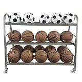 Soporte de baloncesto Rack de almacenamiento de deportes de pelota de baloncesto en rack for el baloncesto voleibol fútbol y el fútbol Balones medicinales ( Color : Plata , tamaño : Storage 20 balls )