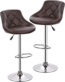 Bar Stools Barstools Swivel Stool Set of 2 Height Adjustable Bar Chairs with Back PU Leather Swivel Bar Stool Kitchen Counter Stools Dining Chairs (Brown)