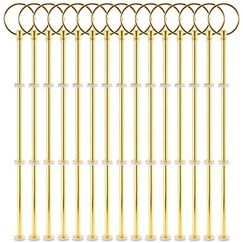 15 Sets Silber Gold Metallstange Mittellochausstech für 2 bis 3 Etagere Etage Torten Hochzeitstorte Tortenständer (Gold)