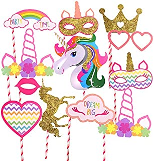 Gold Unicorn and Crown Party Supplies, Rainbow Unicorn Large Photo Booth Props Colorful(12 pcs-Fully Assembled) for Girls Kids Birthday Baby Shower Party