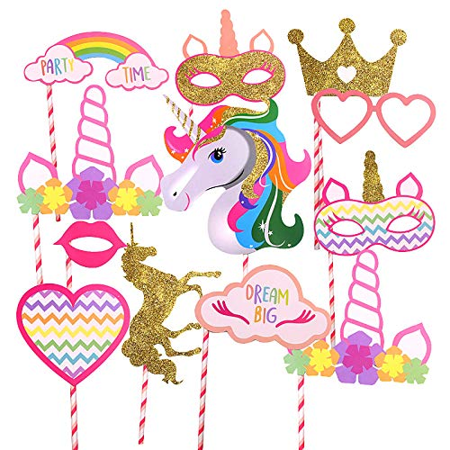 Gold Unicorn Theme and Crown Party Supplies, Rainbow Unicorn Theme Large Photo Booth Props Colorful(12 pcs-Fully Assembled) for Girls Kids Birthday Baby Shower Party