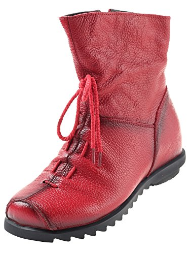Mordenmiss Women's Cap Toe Boots Handmade Ankle Oxford with Side Zipper Style 2 40 Red