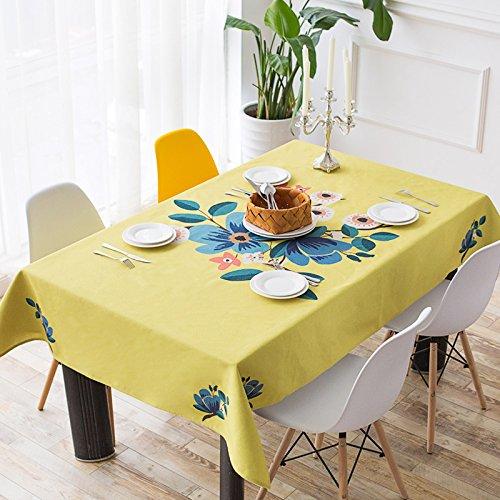 Uus Pastoral Style Nappe Naturel Coton Nappe en lin Restaurant Creative Nappe Living Table Chiffon de la poussière Housse TV Nappe, C, 140*140cm