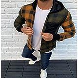 Cárdigan con Capucha para Hombre Camisa Informal con Botones Abiertos a Cuadros para Hombre XXXL Verde Amarillo