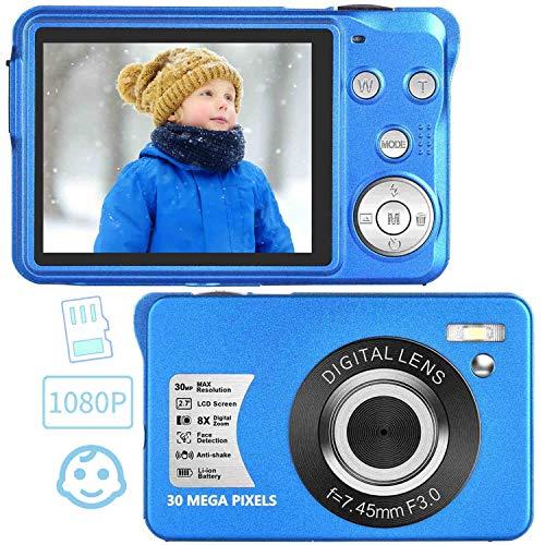 初心者 子供向け デジタルカメラ コンパクト デジカメ 1920x1080P 3000万画素数 携帯便利 2.7インチスクリーン LEDフィルライト 8倍デジタルズーム 日本語説明書/32GBカード同梱【ブルー】クリスマス/新年/誕生日