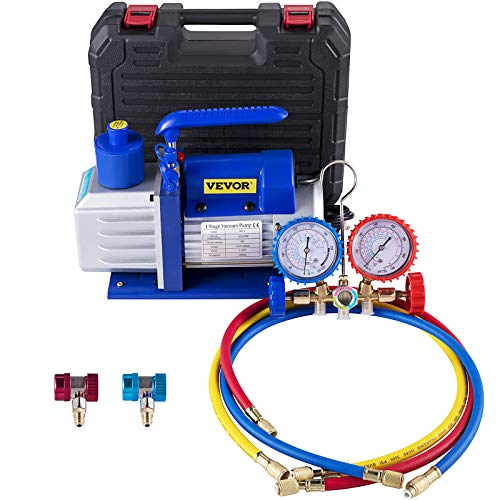 Bestauto Vacuum Pump Kit 4.8CFM 1/3HP Single Stage HVAC A/C Refrigeration Kit 5PA Ultimate Vacuum, Manifold Gauge Set Including Rotary Vane Vacuum Pump for Air Conditioning Systems
