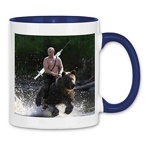 wowshirt Tasse Putin Russischer Impfstoff Russland Quarantäne Social Distancing, Farbe:White - Navy