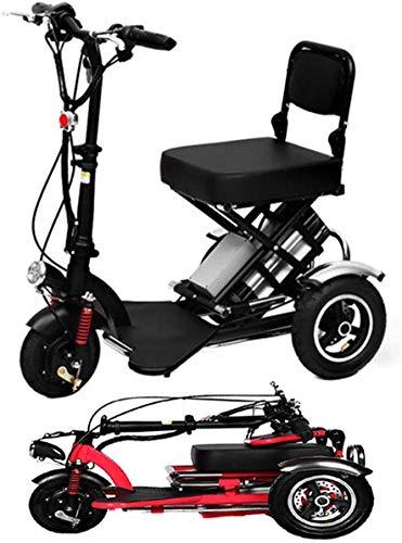 Haojie El Triciclo de Triciclo eléctrico eléctrico eléctrico de Litio eléctrico portátil para el automóvil de 48V Mayores de Datos de 48V Puede durar 60 km Rojo, Negro