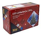 Idena 8325066 - LED Lichterkette mit 200 LED in warm weiß, mit 8 Stunden Timer Funktion, Innen und Außenbereich, für Partys, Weihnachten, Deko, Hochzeit, als Stimmungslicht, ca. 27,9 m