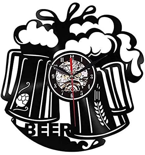 yltian Reloj de Vinilo Beer Time Disco de Vinilo Reloj de Pared Bar Bistro Bartender Brewery Reloj de Pared Moderno