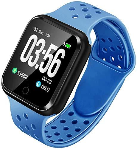 VOG TECH Pulsera inteligente Fitness Tracker con monitor de presión arterial - IP67 Wateproof reloj inteligente podómetro monitor de frecuencia cardíaca para mujeres, hombres y niños (azul)