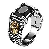 HQLCX Ringe, Vintage Real 925 Sterling Silber Schwarz Stein Rings Mann Frauen Jungfrau Maria Ringe...