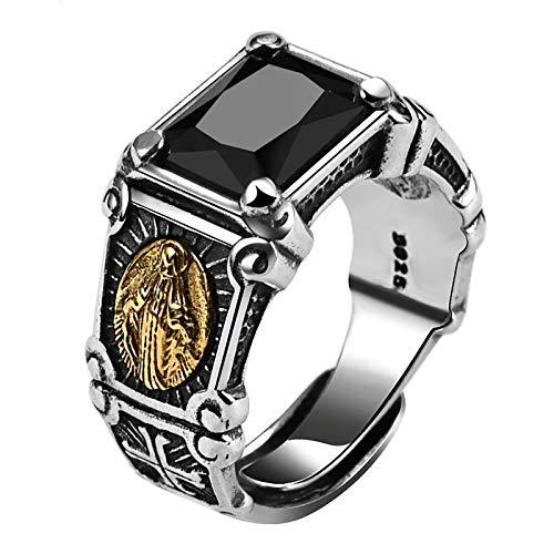 HQLCX Ring, Vintage Real 925 Sterling Silber Schwarz Stein Ring Mann Frauen Jungfrau Maria Ringe Zirkonia Onyx Schmuck, Open Size