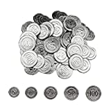 sharprepublic 100 Unids Fichas de Poker 5 10 20 50100 Monedas Jde Piara Doble Cara Marcador Herramientas para Aprendizaje de Matemáticas - Plata