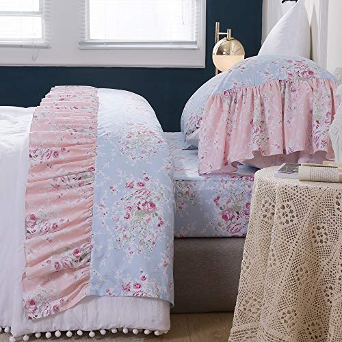 Queen's House Shabby Ruffles Sheets Pink Rose Floral Sheet Sets Egyptian Cotton King Size-Style N