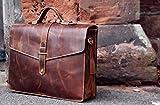 KALATING Personalisierte handgemachte echte Spitzenkorn Leder Herren Aktentasche Laptop Business - Tasche/bis zu 15 Zoll Laptop/Braun - 8