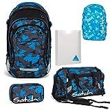 Satch MATCH by Ergobag Blue Triangle 5-tlg. Set Schulrucksack + Sporttasche + Schlamperbox inkl. Geodreieck + Heftebox Styler-Box + Regenhaube Blau - Wächst mit bis 180cm Körpergröße!