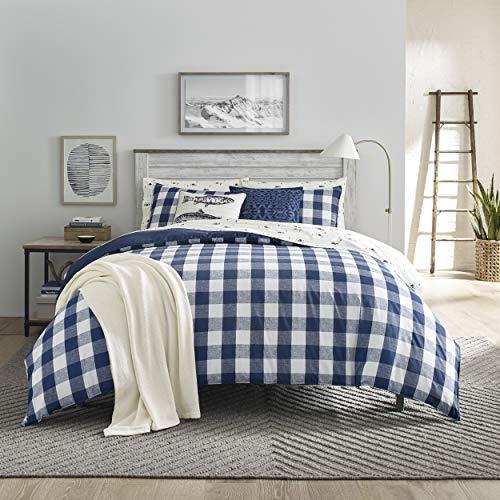 Eddie Bauer Home   Lakehouse Collection   100% Cotton Soft & Cozy Premium Quality Plaid Comforter with Matching Shams, 3-Piece Bedding Set, Queen, Blue