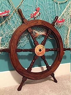 "Ships Wheel - 30"" Wood and Brass Nautical Ships Wheel - Nautical Decor, Boat Decor, Beach Decor - Nagina International"
