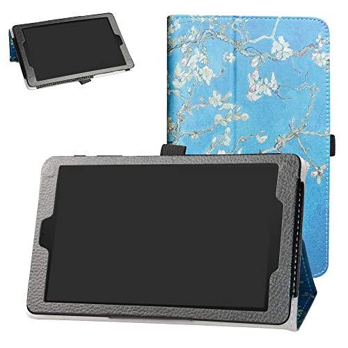 Bige Schutzhülle aus PU-Leder für T-Mobile Alcatel 3T 8 Zoll Tablet (2018) Almond Blossom