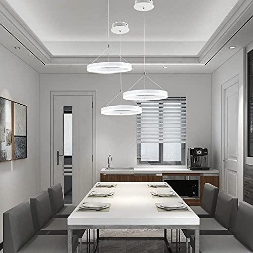 chichstyleme Lámparas Colgantes Modernas, 1 Anillo, lámpara LED de Techo, lámpara contemporánea de 12 Pulgadas, lámpara Colgante Ajustable de 18 W para Comedor, Restaurante, Blanco frío A ++