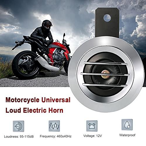 bocina 1.5A 105dB Universal Impermeable Redondo Cuerno eléctrico El volumen fuerte para advertencia con el soporte incluido Se adapta a las motocicletas de 12V DC ( Color : Silver , Voltage : 12V )