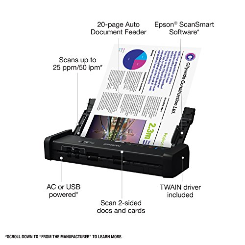 Epson Workforce ES-200 Color Portable Document Scanner with ADF for PC and Mac, Sheet-fed and Duplex Scanning (Renewed) Photo #3