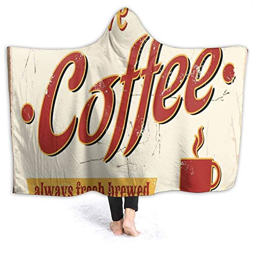 Hooded Blanket Anti-Pilling Flannel,Tin Rusty Faded Fresh Brewed Coffee Print from Old Days Fifties Style Art,Soft and Warm Flannel Throw Blanket for Couch Sofa,for Kids