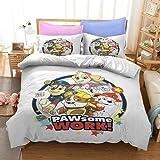 YINGwen Juego de cama 3D Anime de la Patrulla Canina, microfibra, 2 fundas de almohada, ropa de cama infantil, ropa de cama infantil, suave, de tres piezas (04,200 x 200 cm (50 x 75 cm)