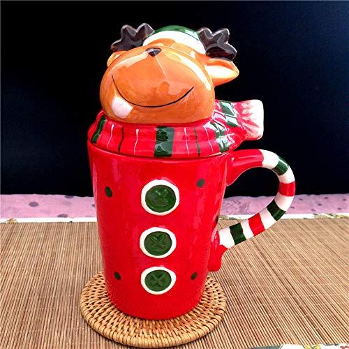Weihnachtliche Keramiktasse 3D Elch Form Cartoon Weihnachten Tassen Kaffee Tee Tasse Kreative Tier Kunst Tasse 1 Stück