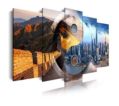 DekoArte 493 - Cuadros Modernos Impresión de Imagen Artística Digitalizada | Lienzo Decorativo para Tu Salón o Dormitorio | Estilo Ciudades Ying Yang Muralla China Shanghai | 5 Piezas 150 x 80 cm
