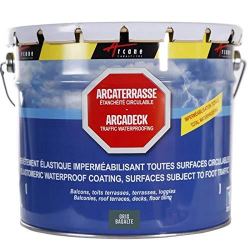 Produit d'étanchéité terrasse balcon Peinture décorative résine revêtement protection circulable extérieur ARCATERRASSE - Gris basalte - 10 L - ARCANE INDUSTRIES